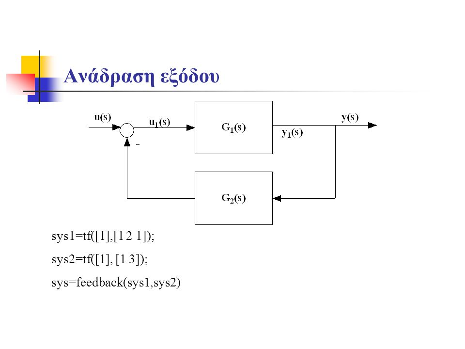 Ανάδραση εξόδου sys1=tf([1],[1 2 1]); sys2=tf([1], [1 3]);